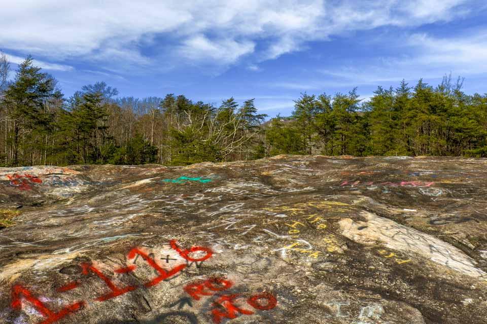 Graffiti at the top of Bald Rock