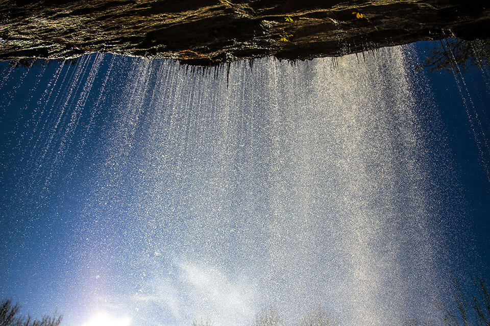 Underneath Bridal Veil Falls in Highlands