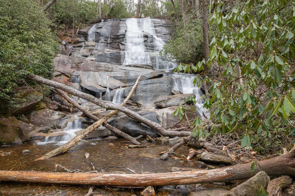Cove Creek Falls with a Person