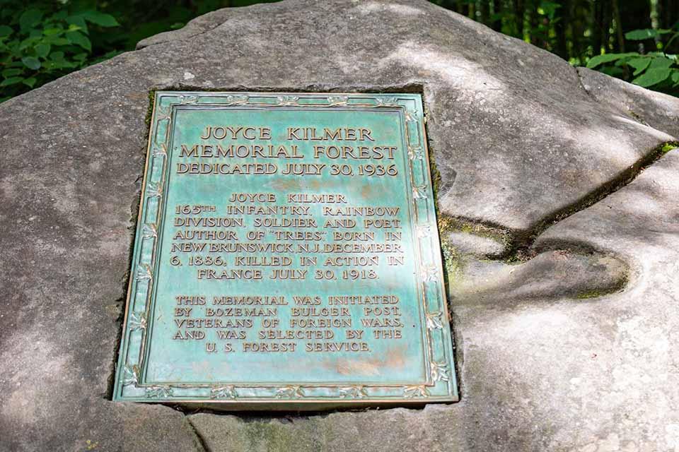 Joyce Kilmer Memorial Forest Plaque